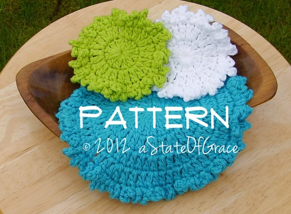 Washcloth and Facial Scrubbie, Crochet PATTERN , Ruffled Edge Set #1, INSTANT DOWNLOAD