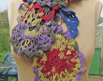 Crochet Lace Women Scarf, Crochet Neckwarmer, Lace Scarf, Women Multicolor Scarf, UK Seller
