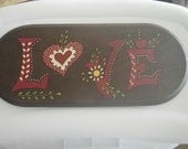 Vintage LOVE Wooden Plaque Wall Hanging Art with Flowers Groovy Retro Romance Great Gift