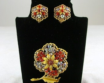 Yellow Enamel Brooch and Matching Clip On Earrings