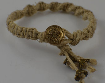Natural hemp braided bracelet with brass button closure and brass accents ladies or teen