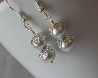 Silver Pearl With Silver Filigree Cap Wedding Party Drop Earring
