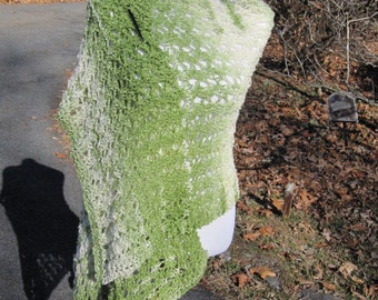 Green Cream Hand Knit Shawl in Ariel Lace Handmade Wrap