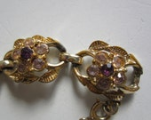 Signed Coro Bracelet with Purple Rhinestone Flowers