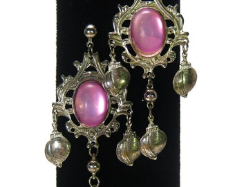 Ornate chandelier earrings, pink Lucite, silver tone vintage pierced oversized statement shoulder dusters