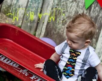 Baby Boy Tie Bodysuit with Suspenders, Little Man Mustache, Personalized Photo Prop, Boy Birthday