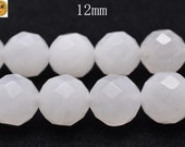 15 inch strand of White jade faceted(64) round beads 12 mm