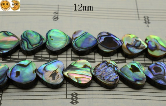 15 inch strand of Abalone shell smooth heart beads 12x12 mm