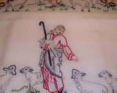 Set of two hand-embroidered pillowcases - Jesus and His Lambs.