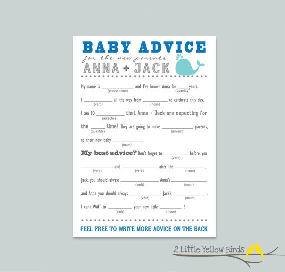 Baby Shower Advice Card MAD LIBS Sea Animals