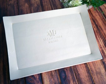 Wedding Gift, Engagement Gift or Signature Guestbook Platter - Large Personalized Platter - Gift boxed