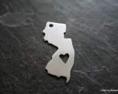 """Sterling Custom Design Stamping Blank -- 7/8"""" New Jersey Shape w/ Heart cut out"""