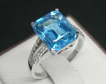 Engagement Ring -  5 Carat Blue Topaz Ring With Diamonds In 14K White Gold