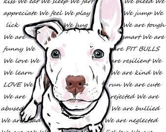 We are Pit Bulls we love we eat we play we fart.............  Art Print