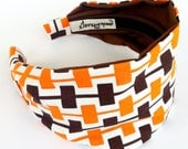 Fabric Headband // Mad Mod Headband // retro hair accessories  // orange brown wide  fabric hair band // 60's style fashion - jerseymaid