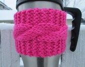 Light Pink Cabled Cup Cozy - Made to Order
