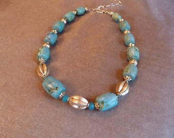 Chunky turquoise and silver necklace with silver plated beads and crystal