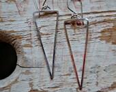 Tribal silver earrings - triangle earrings - dangle earrings - sterling silver totally handmade