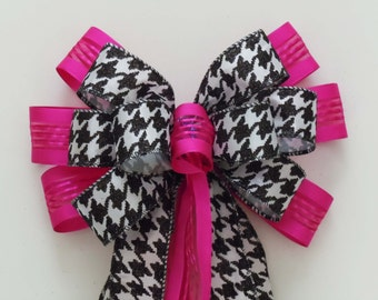 Pink Black Houndstooth Wedding Aisle Bow Hot Pink Black Houndstooth Decoration Bow Wreath Bow Party Decorative Bow Packaging Gift Bow
