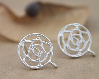 10 pcs raw brass plating silver round filgree  earring    pendant finding