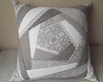 Decorative throw pillow cover organic linen grey gray patchwork quilt cushion case 20'x 20''