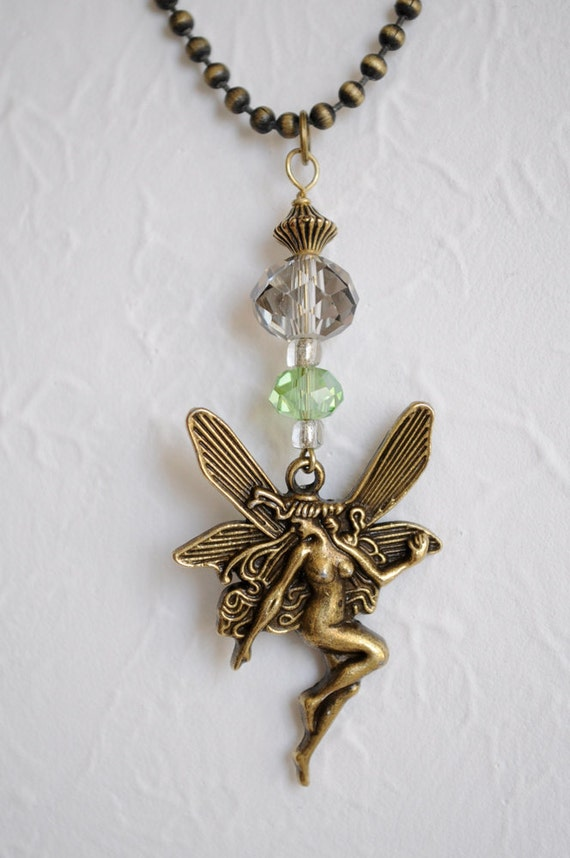 fairy necklace brass and glass