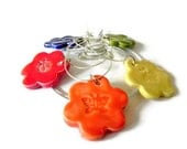 Colorful Ceramic Flower Wine Charms Set of 5 Animal Pottery Drink Markers
