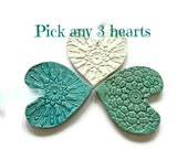 Valentines Decoration Ceramic Ornaments 3 Hearts for Your Wishes Lace Pottery Decoration