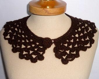 Peter Pan Collar,Victorian collar Crochet Collar, brown color, Detachable Collar Necklace, Brown crochet Collar, Valentines gifts,
