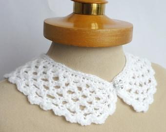 White Peter Pan Collar, Crochet Collar, White color, Lace Collar, Detachable Collar Necklace, White crochet Collar,