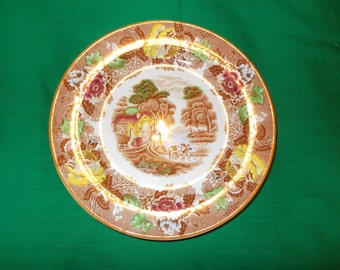 """One (1), 7 7/8"""" Salad Plate, from Wood & Sons, in the English Scenery Dark Brown / Multicolor Pattern."""