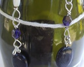 Blue Gold Stone Mother of Pearl Navy Crystal Necklace