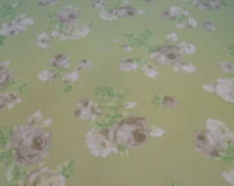"Gray Roses, 100% Cotton Fabric, P. Kaufman, ""Porterdale"" Green Tea, Cottage, Shabby Chic"