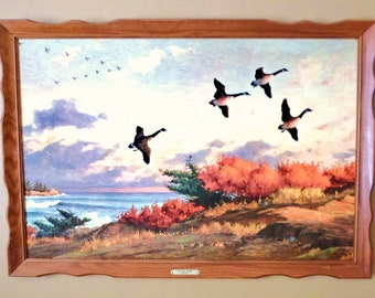 "Large Vintage Wildlife Wood Framed Print ""Flying Home"" By Westal, Geese Flying, Fall Foliage, Beautiful Colors"
