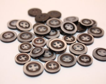 Vintage Lot Of 34 Black and White Round Plastic Buttons-High Fashion, Craft, Supply-Tailoring, Repair, Craft Supplies