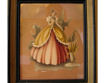 Vintage 1940's Turner Color Lithograph of Antebellum Southern Belle