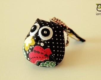 Hanabi - Owl Doll with a Bag: plush, owl plush, children, kid, cute, kawaii, baby, boy, girl, kid, navy, poka dot, keychain, charm