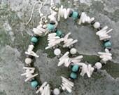 Shell Earrings handmade dangle turquoise white coral hematite beadwork hypoallergenic wires