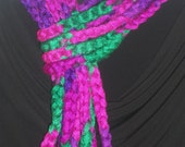 Crocheted Chain Scarf / Necklace multi colored in green, Pink and Purple