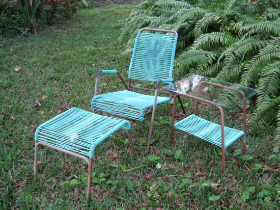 RESERVED for MZ Vintage Lawn Furniture Turquoise Patio