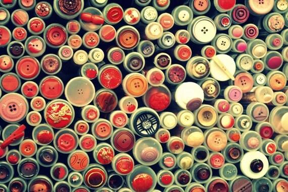 "Fine Art Portrait Photograph of Red Buttons 18"" x 12"""