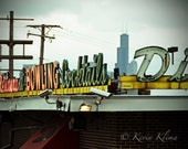 "Chicago Photography art Vintage Neon Sign Print ""Bowling"" photo"