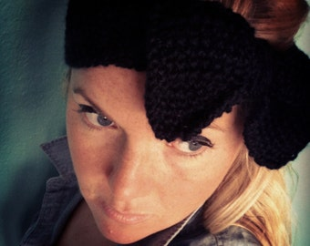 KNIT BOW HEADBAND Hand Knit Headband/Earwarmer in Black with Big Floppy Bow, Knitted Head Band, Black Bow Knit Headband
