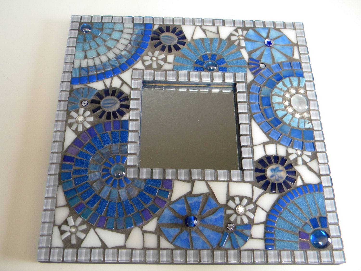 Blue white square mosaic mirror original art for Miroir mosaique rond