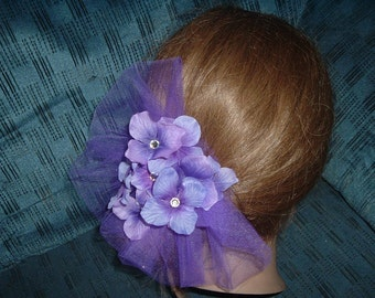 Any  Color Tulle and Flowers Hair Clip Barrette