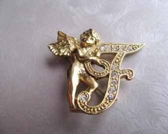 Vintage Brooch - Vintage Cupid Brooch - Initial T or F Brooch