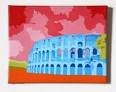 """Canvas Art Colosseum Original Artwork 8"""" x 10"""" Rome Italy"""