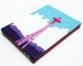 "Canvas Art Seattle Space Needle Acrylic Painting 5"" x 7"" Washington"