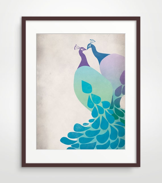 Peacock Art, Peacock Wedding Print, Wedding Anniversary Gift, Purple and blue