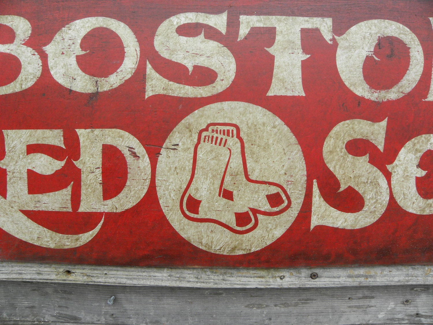 boston red sox sign faux vintage wood sign hand lettered